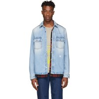 Off White Blue And Red Denim Reconstructed Shirt