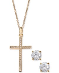 Giani Bernini Cubic Zirconia Cross Pendant Necklace And Stud Earrings Set In 18K Gold Plated Sterling Silver Created For Macy's
