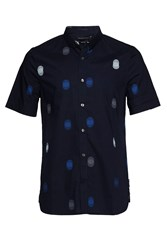 French Connection Men's Titan Dot Short Sleeve Shirt Navy