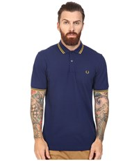 Fred Perry Slim Fit Twin Tipped Polo French Navy Mustard Men's Short Sleeve Knit Blue