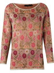 Cecilia Prado Floral Pattern Knitted Blouse Pink And Purple