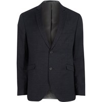 Jack And Jones River Island Mens Dark Navy Premium Blazer