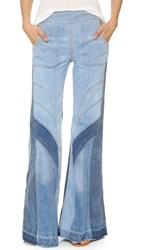 Free People Tidal Wave Flare Jeans Pale Blue Multi