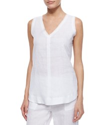 Neiman Marcus Silicon Washed Linen Tank Top White