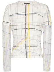 Y Project Sheer Layer Line Print Top White