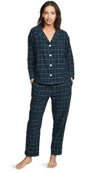Sleepy Jones Marina Pj Set Black Watch Flannel Green