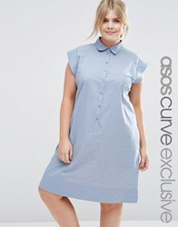 Asos Curve Casual Cotton Shirt Dress Blue