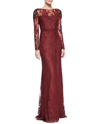 Marchesa Notte Long Sleeve Lace Overlay Beaded Shoulder Gown Women's
