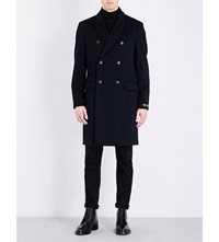 Kent And Curwen Double Breasted Brushed Wool Coat Navy