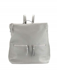 Neiman Marcus Zip Pocket Square Leather Backpack Gray