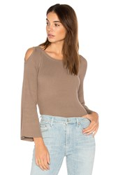 525 America Cut Out Shoulder Sweater Taupe