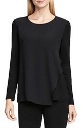 Vince Camuto Women's Asymmetrical Chiffon Overlay Top Rich Black