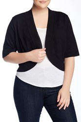 Cable And Gauge Shrug Sweater Plus Size Black