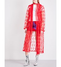Eric Schlosberg Waterfall Lapel Floral Lace Coat Red