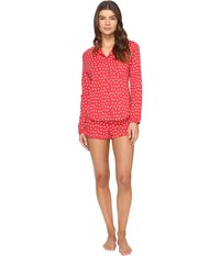 Only Hearts Club Heritage Heart Supima Shorty Pj Rosehip White Women's Pajama Sets Red