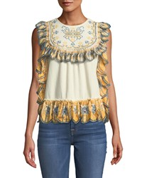 Leon Max Ruffled Trimmed Embroidered Blouse Cream