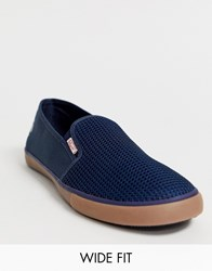 Original Penguin Wide Fit Canvas Plimsoll In Navy