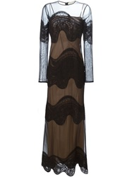 Emilio Pucci Sheer Embroidered Evening Dress Black
