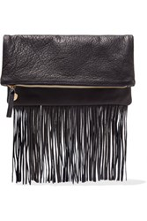 Clare V. V Maison Fold Over Fringed Textured Leather Clutch Navy