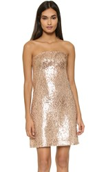 Kaufman Franco Strapless Dress Gold Nude