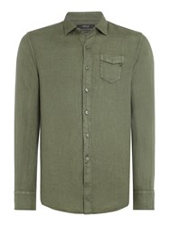 Replay Men's Linen Shirt With Chest Pocket Green
