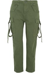 Topshop Unique Hopper Cotton Twill Tapered Pants Army Green