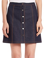 Theory Sinall Denim Mini Skirt Dark Indigo
