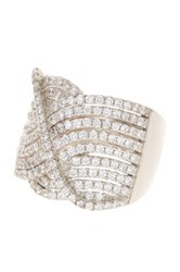 Sterling Silver Multi Wave Cz Gallery Ring White