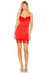 By The Way Em Satin Midi Dress Red