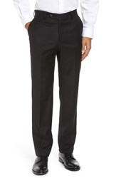 Berle Men's Flat Front Stretch Solid Wool Trousers Black