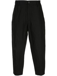 Ziggy Chen Cropped Loose Fit Trousers Black