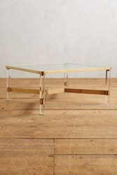 Anthropologie Oscarine Lucite Coffee Table Square Gold