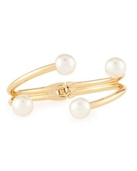 Lydell Nyc Golden Twisted Pearly Hinged Cuff Bracelet Women's