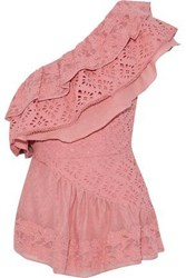 Love Sam One Shoulder Broderie Anglaise Gauze And Embroidered Woven Cotton Top Bubblegum