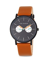 Ted Baker Round Leather Strap Watch Tan