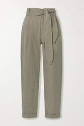 Apiece Apart Bendita Linen And Cotton Blend Twill Tapered Pants Army Green