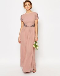 Maya Cap Sleeve Maxi Dress With Embellished Waist Detail Pale Mauve
