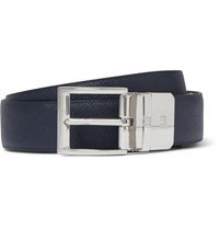 Dunhill 3Cm Blue And Black Reversible Leather Belt Navy