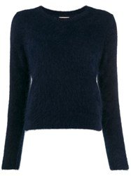 Bellerose Round Neck Fuzzy Knit Jumper Blue