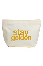 Dogeared Canvas Zip Pouch Metallic Gold Stay Golden