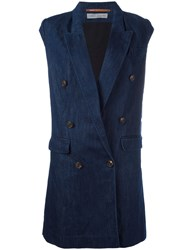 Veronique Branquinho Double Breasted Waistcoat Blue