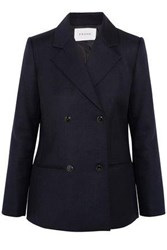 Frame Double Breasted Wool Blazer Midnight Blue