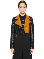 Lanvin Crackle Patent Leather Crop Biker Jacket
