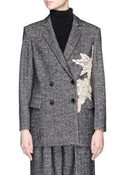 Comme Moi Jewelled Embroidery Applique Double Breasted Herringbone Blazer Grey