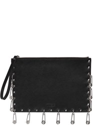 Versus Multi Safety Pin Saffiano Leather Clutch