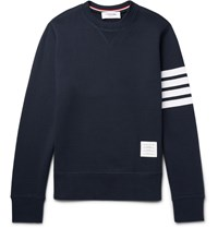 Thom Browne Striped Loopback Cotton Jersey Zip Up Hoodie Blue