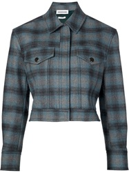 Koonhor Plaid Cropped Jacket Blue