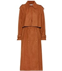 Stella Mccartney Cecile Faux Suede Trench Coat Brown