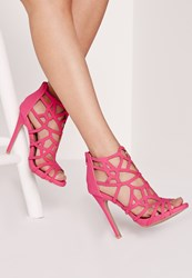 Missguided Lazer Cut Heeled Gladiator Sandal Pink No