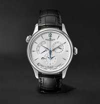 Jaeger Lecoultre Master Geographic Automatic 39Mm Stainless Steel And Alligator Watch Silver